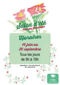 Affiche des horaire du Salon d'été du 14 juin au 30 septembre 2019